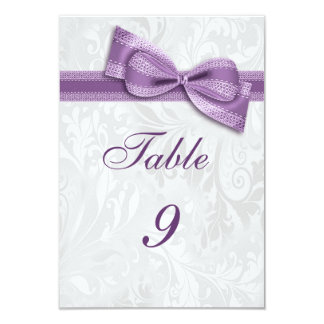 White Damask and Lilac Faux Bow Card