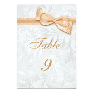 White Damask and  Peach Faux Bow Card