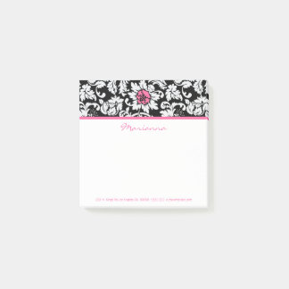 White Damask And Pink Flower Post-it Notes