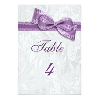 White Damask and Purple Faux Bow Card