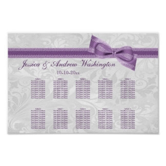 White Damask and Purple Faux Bow Seating Chart