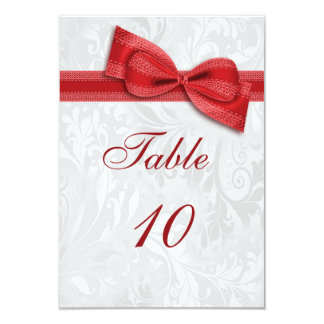 White Damask and Red Faux Bow Card