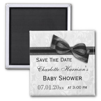 White Damask & Black Bow Baby Shower Save The Date 2 Inch Square Magnet