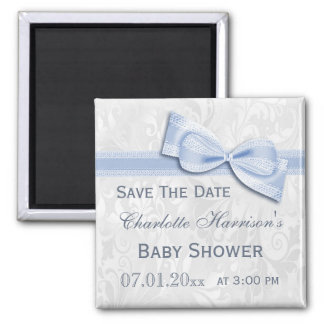 White Damask & Blue Bow Baby Shower Save The Date 2 Inch Square Magnet