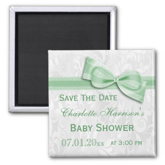 White Damask &  Bow Baby Shower Save The Date 2 Inch Square Magnet