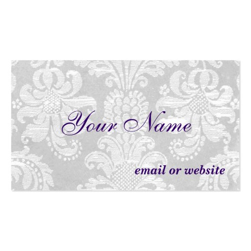 White Damask Business Card Template