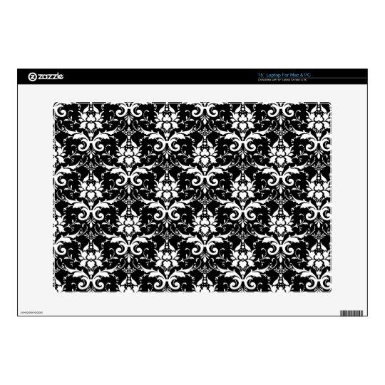 "White Damask Customizable Background Color 15"" Laptop Skin"