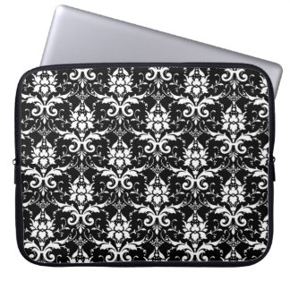 White Damask Customizable Background Color Computer Sleeve