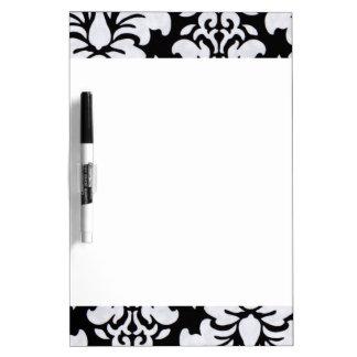 White Damask Dry Erase Board