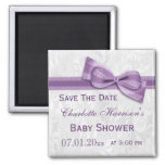 White Damask & Faux Bow Baby Shower Save The Date 2 Inch Square Magnet