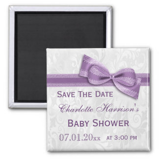 White Damask & Faux Bow Baby Shower Save The Date Magnet