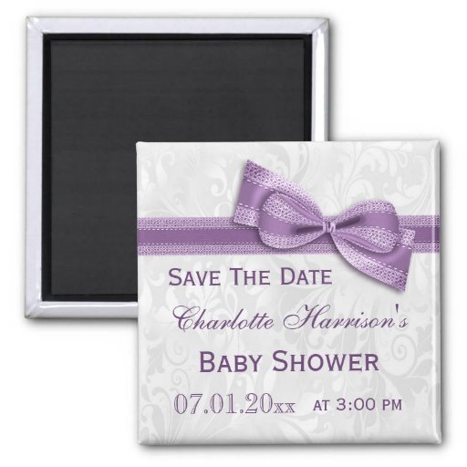 White Damask & Faux Bow Baby Shower Save The Date Fridge Magnets