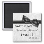 White Damask & Faux Bow Sweet 16 Save The Date Refrigerator Magnet