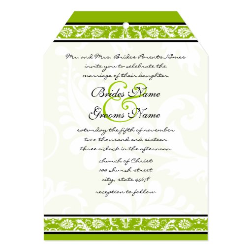 White Damask Floral Apple Green Wedding 5x7 Paper Invitation Card