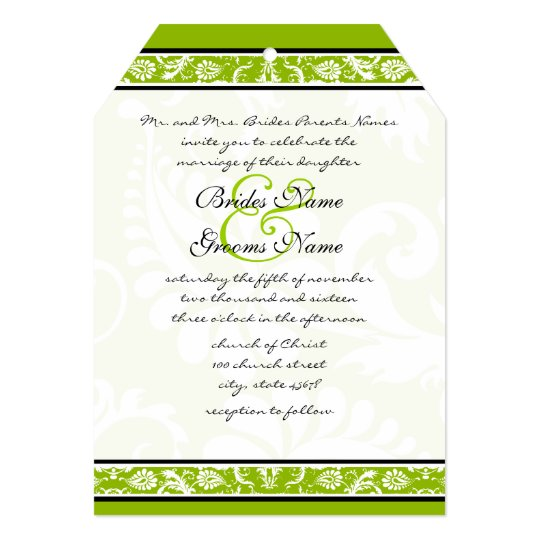 White Damask Floral Apple Green Wedding Card