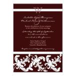 White Damask Floral Chocolate Wedding Invitation