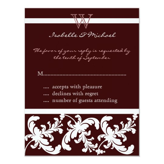 White Damask Floral on Chocolate Response Card