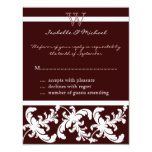 White Damask Floral on Chocolate Response Card Announcement