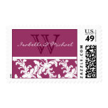 White Damask Floral on Wine Purple Postage Stamps