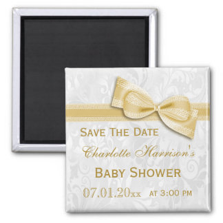 White Damask & Gold Bow Baby Shower Save The Date 2 Inch Square Magnet