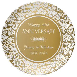White Damask Gold Circle- 50th Anniversary Dinner Plate