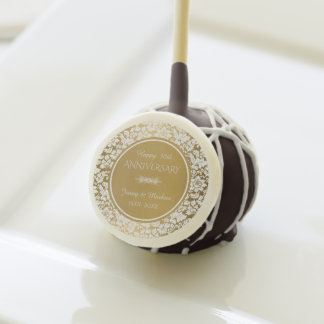 White Damask- Gold Wedding Anniversary Cake Pops