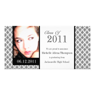 White Damask Graduation Announcement Photo Cards