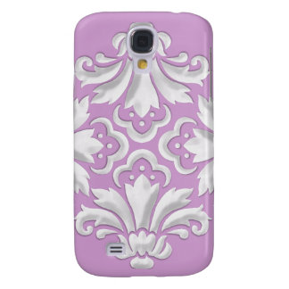 White Damask Motifs on Any Color Background Samsung Galaxy S4 Case