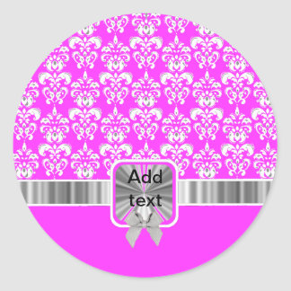 white damask on any color classic round sticker