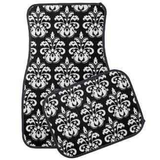 White damask on black car floor mat