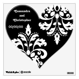 White damask on black heart wedding room sticker