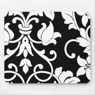 White Damask on Black Mouse Pad