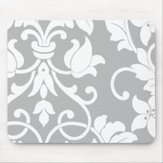 White Damask on Gray Mouse Pad