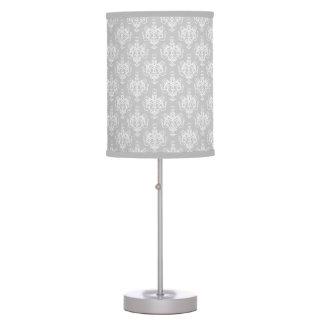 White Damask On Grey Table Lamp