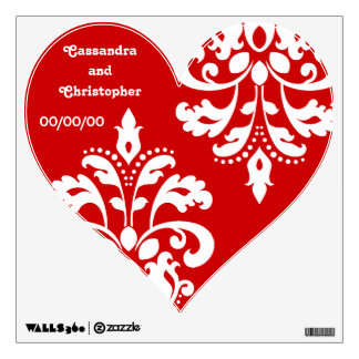 White damask on red heart wedding wall decal