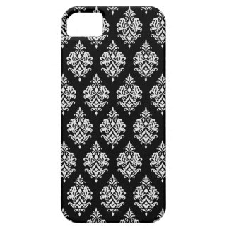 WHITE DAMASK PATTERN,BLACK iPHONE 5 CASE