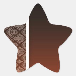 White Damask pattern brownish background Star Sticker