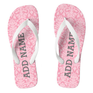 White Damask Pattern with Custom Name Monogram Flip Flops
