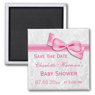 White Damask & Pink Bow Baby Shower Save The Date Magnets