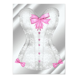 White Damask Pink Bows Corset Lingerie Shower 6.5x8.75 Paper Invitation Card