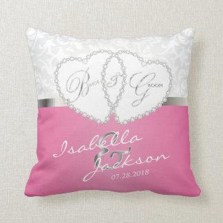 White Damask & Pink Wedding Design | Zazzle Throw Pillow