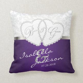 White Damask & Purple Wedding Design | Zazzle Throw Pillow