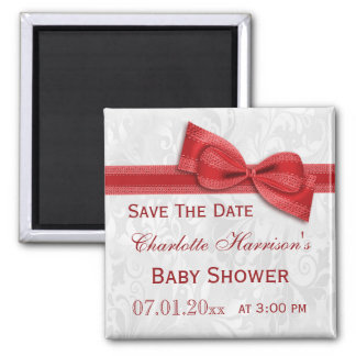 White Damask & Red Bow Baby Shower Save The Date 2 Inch Square Magnet