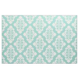 White Damask Scroll on Cool Aqua Fabric