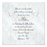White Damask Shimmer Wedding Custom Announcements
