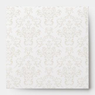 White Damask Square Envelopes