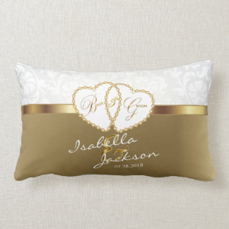 White Damask with Gold Wedding  | Zazzle Lumbar Pillow