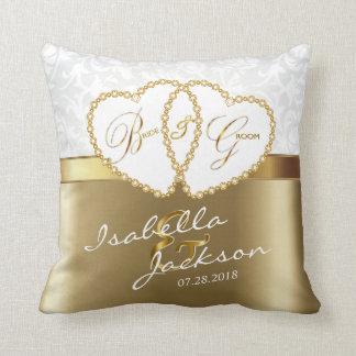 White Damask with Gold Wedding  | Zazzle Throw Pillow