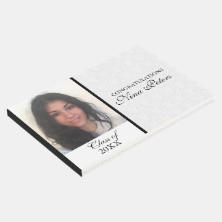 White Damask With Photo- Graduations Guest Book