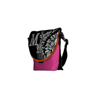 White Damask- You Choose Colors- Courier Bag